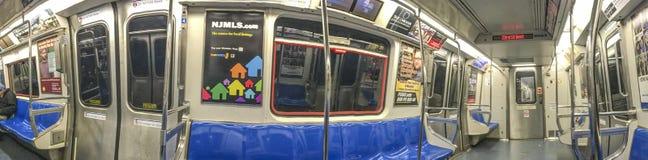 NEW YORK CITY - OCTOBER 2015: Interior of city subway train. Sub Royalty Free Stock Images