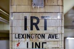 IRT Lexington Ave. Line - New York City. New York City - October 14, 2017: Vintage sign for the IRT Lexington Ave. Line in New York City Stock Photography