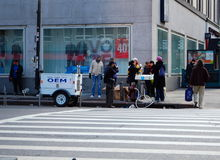 New York City Office of Emergency Management. New York City OEM dispensing drinking water on the corner of 23rd street and 8th avenue after hurricane Sandy. The Royalty Free Stock Photography