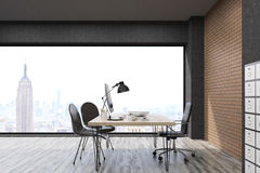 New York City office with filing cabinet. New York office with filing cabinet. CEO desk is standing near panoramic window with cityscape. 3d rendering. Mock up Stock Photo