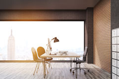 New York City office with filing cabinet, toned. New York office with filing cabinet. CEO desk is standing near panoramic window with cityscape. 3d rendering Stock Photos