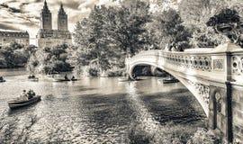 NEW YORK CITY - OKTOBER 2015: Turister i Central Park tycker om fol Fotografering för Bildbyråer