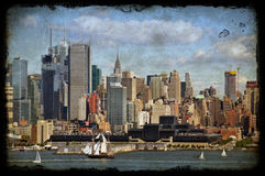 New york city old large sailing ship in hudson Stock Images