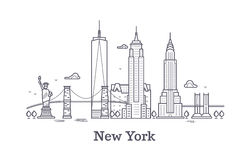 New York city outline skyline, nyc line silhouette, usa tourist and travel vector concept. New York architecture urban illustration Royalty Free Stock Images