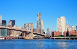 New York City over Hudson River Stock Image
