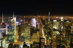 New York City på natten från Empire State Building royaltyfri bild