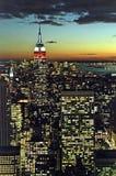 New York City på skymningen Arkivfoton