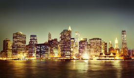 New York City Panorama Night Concept Stock Image