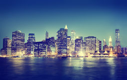 New York City Panorama Night Concepts Stock Photo