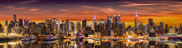 New York City panorama. At sunrise