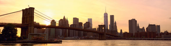 New York City panorama at sunset Royalty Free Stock Image