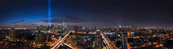 New York City Panorama of Tribute in Light and Skyline Stock Photo