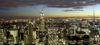 New York City Panorama at Twilight Royalty Free Stock Images