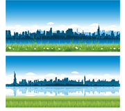 New York City panoramas. New York City skyline reflect on water, blue cityscape background, vector illustration, statue of liberty