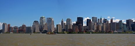 New York city panoramic. Under a clear blue sky Royalty Free Stock Photo