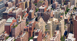 New York City Panoramic Buildings Background. Panoramic view of tall crowded buildings in Manhattan, New York City Stock Photos