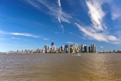 New York City Panoramic, Panorama. New York City. The view shows lower Manhattan which includes the Empire State Building and One World Trade Center. Image Stock Photography