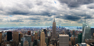 New York City panoramique, panorama Photographie stock