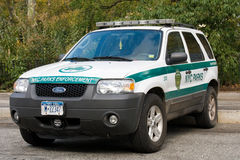 New York City parcheggia la pattuglia della polizia di applicazione immagini stock