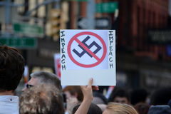 New York City. People gathered in Union Square to denounce President Trump and the neo-nazi violence in Charlottesville, Virginia in New York City Stock Image