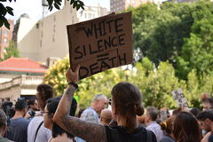 New York City. People gathered in Union Square to denounce President Trump and the neo-nazi violence in Charlottesville, Virginia in New York City Royalty Free Stock Photos