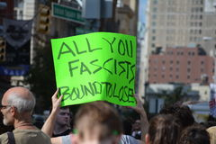 New York City. People gathered in Union Square to denounce President Trump and the neo-nazi violence in Charlottesville, Virginia in New York City Stock Photo
