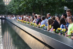 New York City. People left at the National 9/11 Memorial to mark the anniversary of the terrorist attacks royalty free stock photos