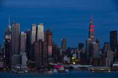 New York City: Pink Reflections at Dusk Stock Images