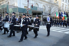 New York City Police Band marching at the St. Patrick`s Day Parade in New York. Stock Photos