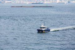 New York City Police Boat Cruising Harbor Stock Images