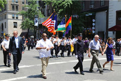 The New York City Police Commissioner William Bratton participates at LGBT Pride Parade in New York City. NEW YORK - June 29, 2014: The New York City Police royalty free stock image
