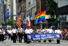 New York City Police Department Members at Gay Pride Parade Stock Images