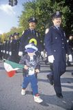 New York City Police Officer with child at Columbus Day Parade, New York City, New York Stock Photo