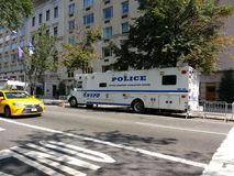 New York City, police patrouillent le nord de Manhattan de ville, véhicule de NYPD, le Département de Police de New York, NYC, NY Photo stock