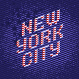 New York City poster. From color stripes font. Stylized to United States of America flag with stars on background Stock Photo