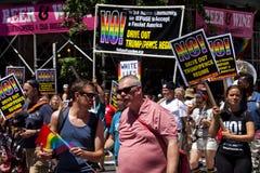 New York City Pride Parade - protestera trumf Fotografering för Bildbyråer