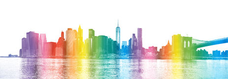 New York City - rainbow colors silhouette of Manhattan skyscrap