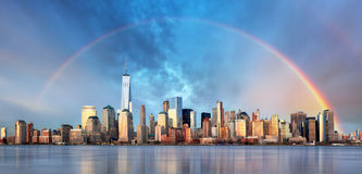 New York City with rainbow, Downtown Royalty Free Stock Photography