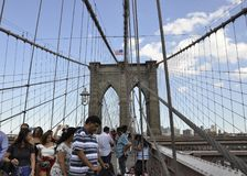 New York City, 3rd July: Brooklyn Bridge over East River of Manhattan from New York City in United States Stock Image