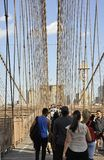 New York City, 3rd July: Brooklyn Bridge walkway over East River of Manhattan from New York City in United States Royalty Free Stock Photography
