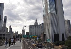 New York City, 3rd July: Brooklyn Bridge walkway over East River of Manhattan from New York City in United States Stock Photo