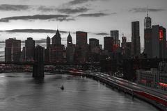 New York City Red Lights in Black and White Stock Photography