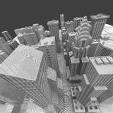 New York City (rendered, white, wire mesh) Stock Photo