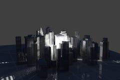 New York City (rendered, white, wire mesh). New York City (rendered, white, 3d, wire mesh Stock Photo