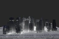 New York City (rendered, white, wire mesh). New York City (rendered, white, 3d, wire mesh Royalty Free Stock Image
