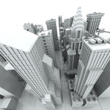 New York City (rendido, branco) ilustração do vetor