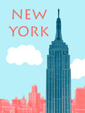 New York City Retro Poster. Withe Empire State Building Stock Images