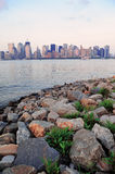 New York City river shore Royalty Free Stock Photo
