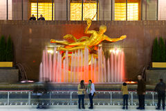 NEW YORK CITY - Rockefeller center. NEW YORK CITY - MARCH 31: The golden Prometheus statue at the Rockefeller center on March 31, 2012 in New York, NY. This Stock Photo