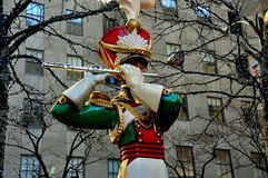 New York City: Rockefeller Center Christmas Decorations Royalty Free Stock Photo
